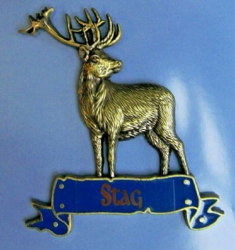 STUNNING STAG FRIDGE MAGNET HEAVY DUTY METAL 3D MAGNET IN ANTIQUE GOLD STYLE